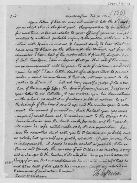 Thomas Jefferson to Benjamin Williams, February 10, 1806