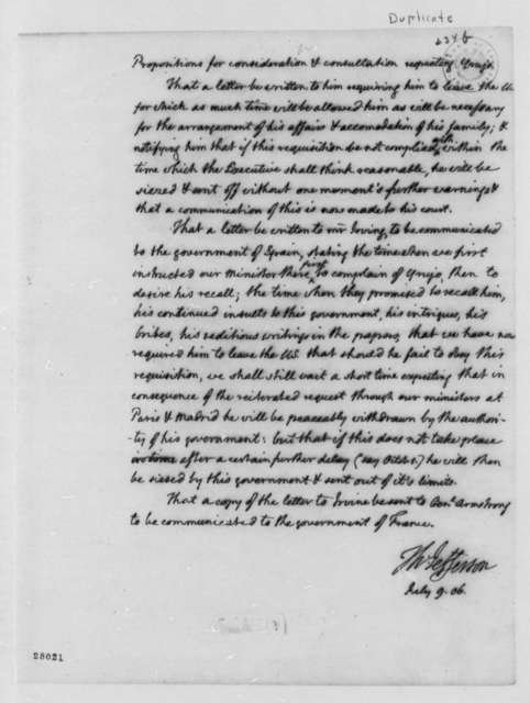 Thomas Jefferson to Cabinet, July 9, 1806, Duplicate of Propositions on Yrujo, without Jefferson Note