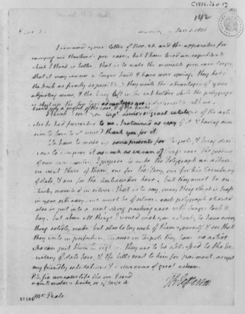 Thomas Jefferson to Charles Willson Peale, January 1, 1806
