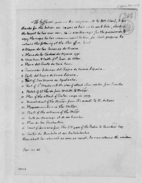 Thomas Jefferson to Daniel Clark, Jr., December 21, 1806