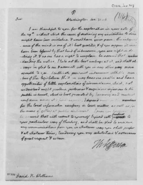 Thomas Jefferson to David R. Williams, January 31, 1806