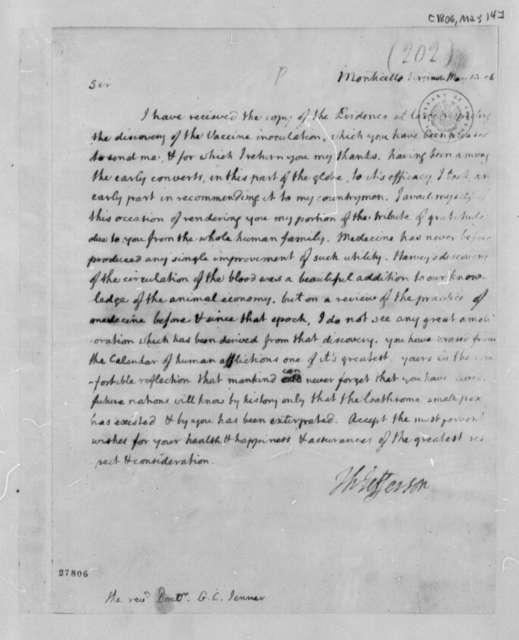 Thomas Jefferson to G. C. Edward Jenner, May 14, 1806