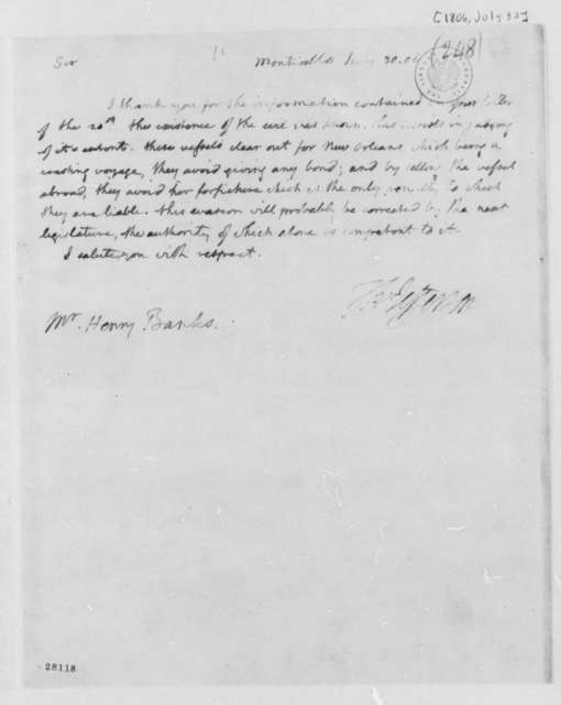 Thomas Jefferson to Henry Banks, July 30, 1806