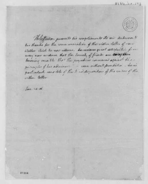 Thomas Jefferson to Isaac Anderson, January 24, 1806