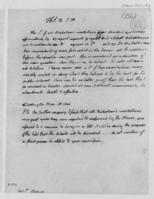 Thomas Jefferson to James Monroe, March 18, 1806