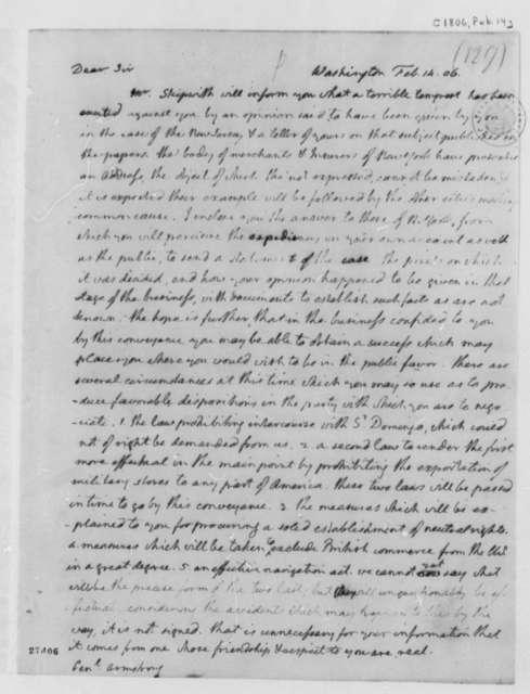 Thomas Jefferson to John Armstrong, February 14, 1806