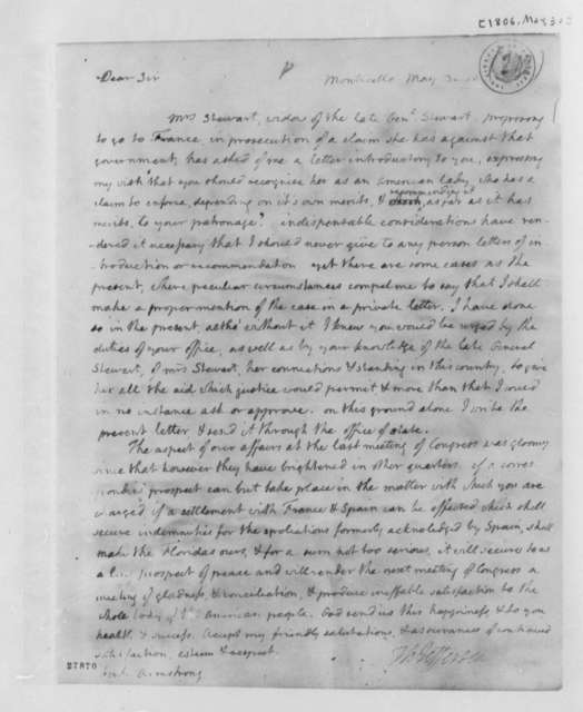 Thomas Jefferson to John Armstrong, May 30, 1806