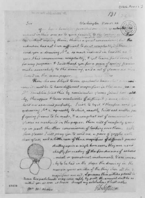 Thomas Jefferson to John McAllister, November 12, 1806, with Drawing
