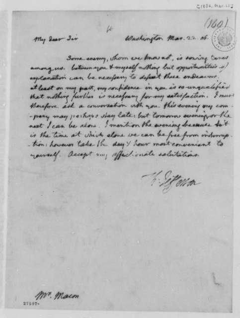 Thomas Jefferson to Nathaniel Macon, March 22, 1806