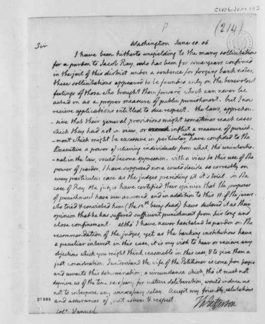 Thomas Jefferson to Peter van Ness, June 10, 1806