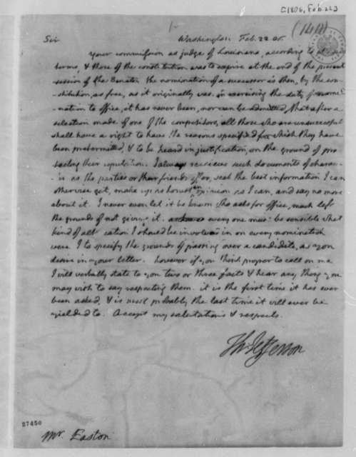Thomas Jefferson to Rufus Easton, February 22, 1806
