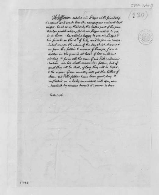 Thomas Jefferson to Thomas Digges, July 1, 1806