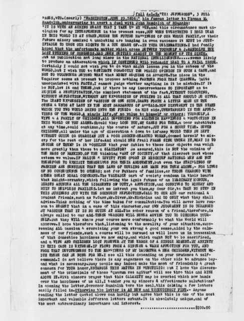 Thomas Jefferson to Thomas M. Randolph, June 23, 1806, Typed Transcription