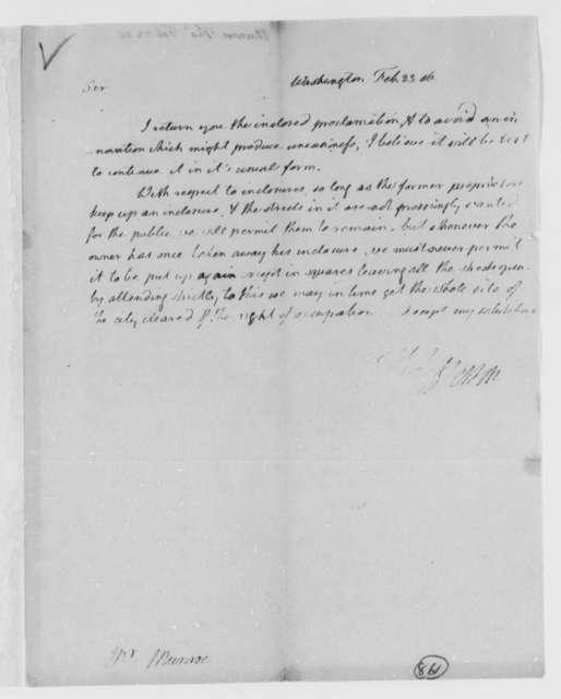 Thomas Jefferson to Thomas Munroe, Superintendent of the City, February 23, 1806