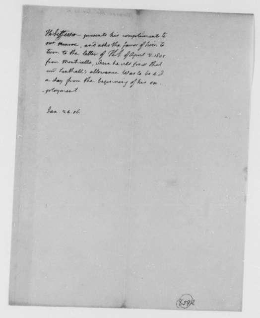 Thomas Jefferson to Thomas Munroe, Superintendent of the City, January 24, 1806