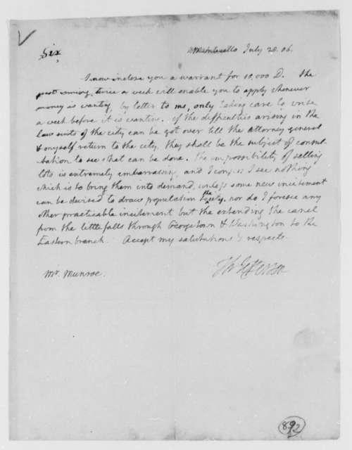 Thomas Jefferson to Thomas Munroe, Superintendent of the City, July 28, 1806
