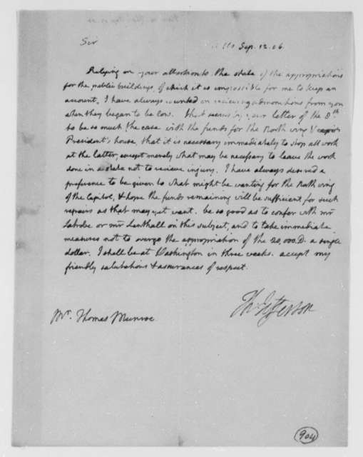 Thomas Jefferson to Thomas Munroe, Superintendent of the City, September 12, 1806
