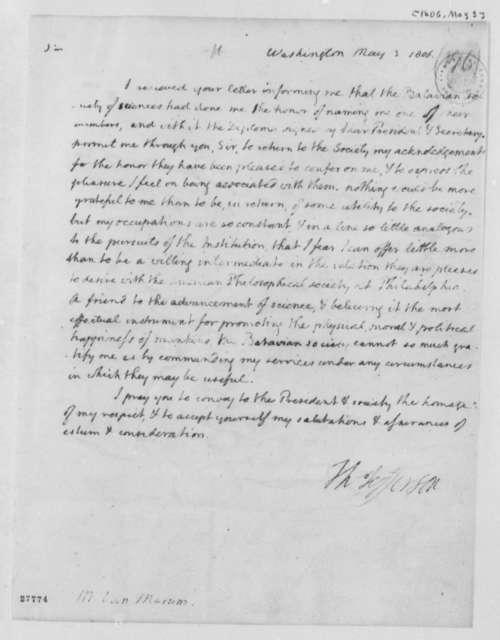 Thomas Jefferson to Van Marum, May 3, 1806
