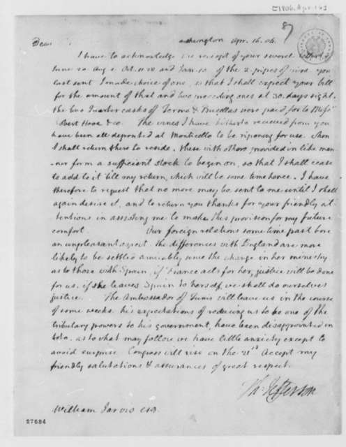 Thomas Jefferson to William Jarvis, April 16, 1806