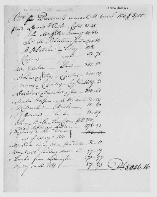 Thomas Munroe, Superintendent of the City to Thomas Jefferson, April 26, 1806