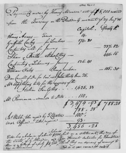Thomas Munroe, Superintendent of the City to Thomas Jefferson, February 12, 1806, Payments