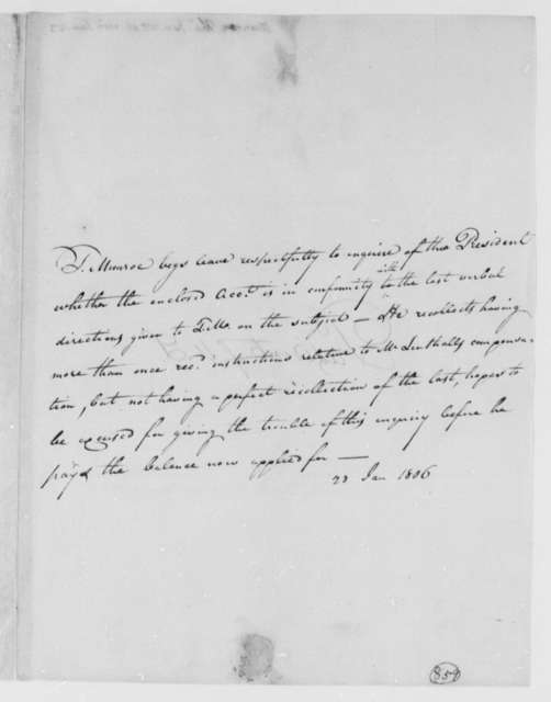 Thomas Munroe, Superintendent of the City to Thomas Jefferson, January 23, 1806