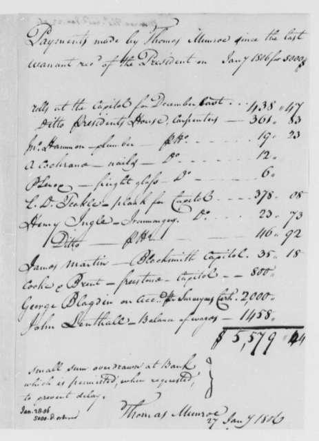 Thomas Munroe, Superintendent of the City to Thomas Jefferson, January 27, 1806