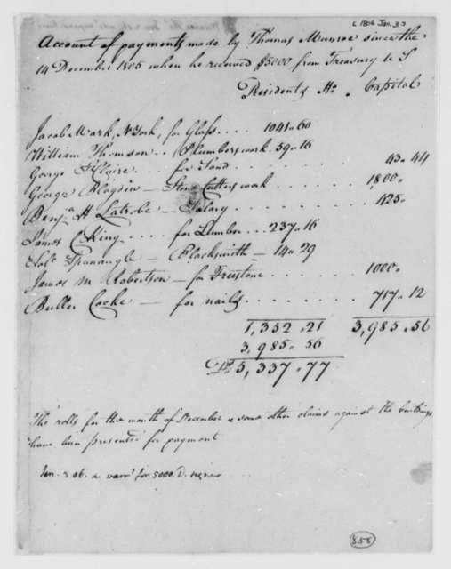 Thomas Munroe, Superintendent of the City to Thomas Jefferson, January 3, 1806