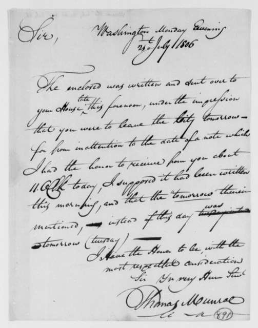 Thomas Munroe, Superintendent of the City to Thomas Jefferson, July 21, 1806, two same date