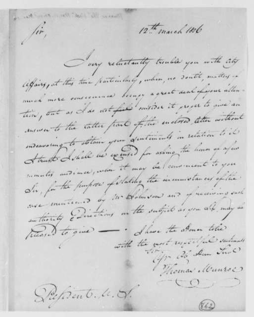 Thomas Munroe, Superintendent of the City to Thomas Jefferson, March 12, 1806