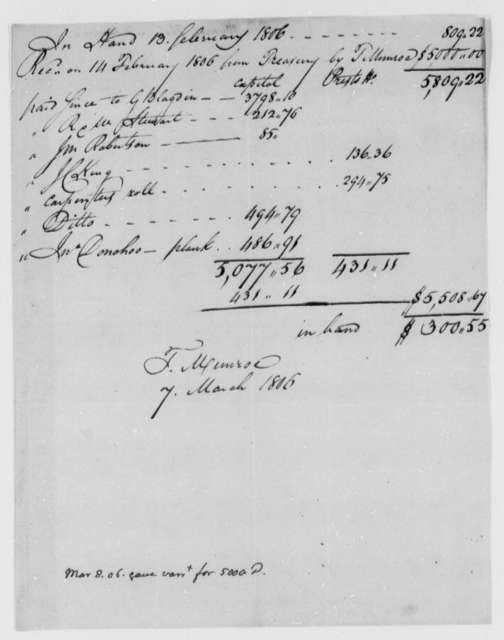 Thomas Munroe, Superintendent of the City to Thomas Jefferson, March 7, 1806