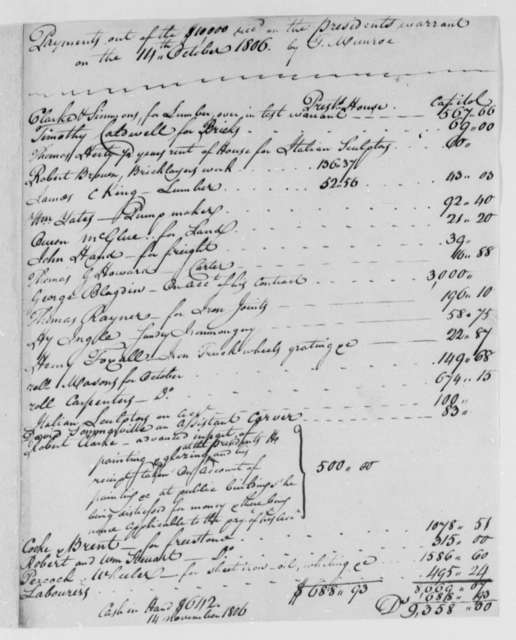 Thomas Munroe, Superintendent of the City to Thomas Jefferson, November 14, 1806, Report on Expenditures