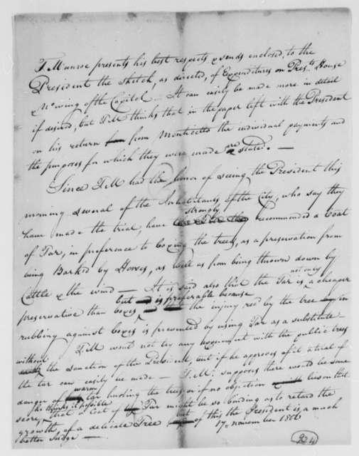 Thomas Munroe, Superintendent of the City to Thomas Jefferson, November 17, 1806