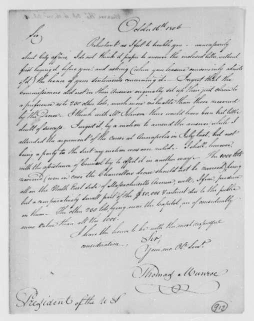 Thomas Munroe, Superintendent of the City to Thomas Jefferson, October 16, 1806