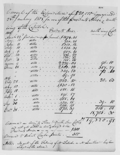 Thomas Munroe, Superintendent of the City to Thomas Jefferson, October 31, 1806, Accounts on Building of the President's House