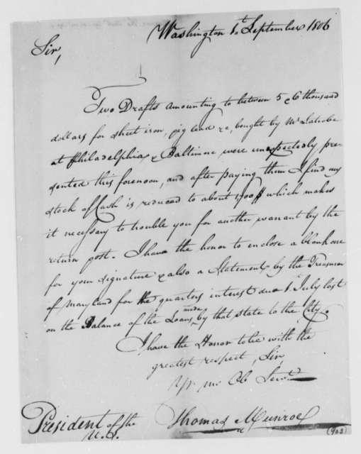 Thomas Munroe, Superintendent of the City to Thomas Jefferson, September 1, 1806