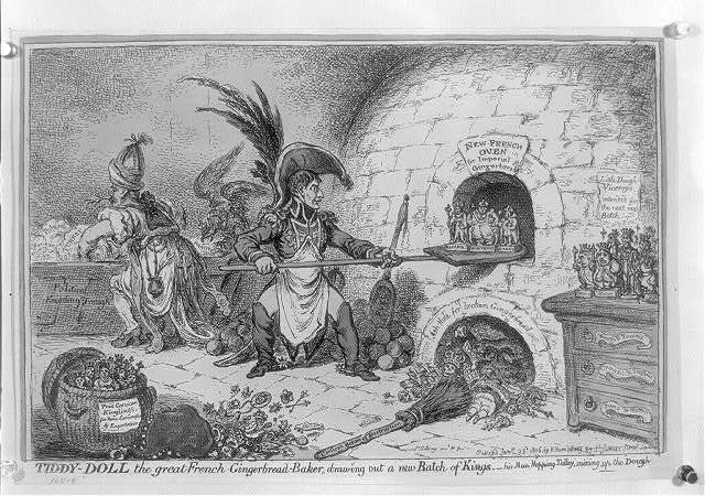 Tiddy-Doll, the great French gingerbread-baker; drawing out a new batch of kings - his man, Hopping Talley, mixing up the dough / Js. Gillray invd. & fec.