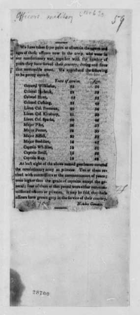 United States Army, 1806, Officers Years of Service Newspaper Clipping