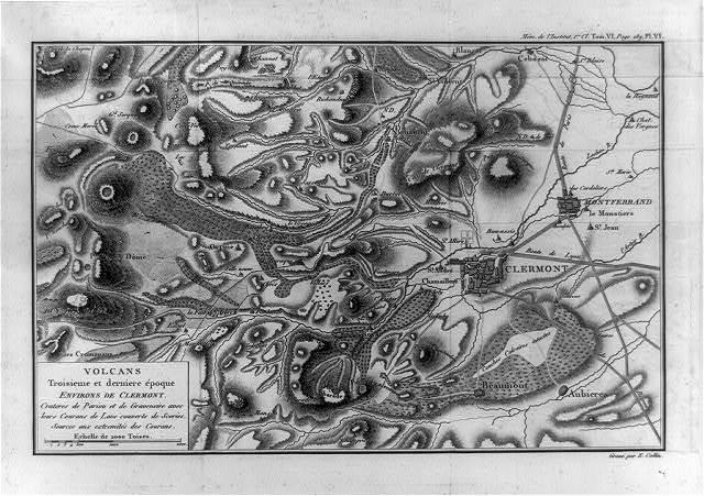 Volcans : troisième et derniere epoque, environs de Clermont / gravé par E. Collin.