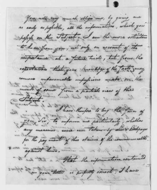 Waller Holladay to Thomas Jefferson, October 6, 1806