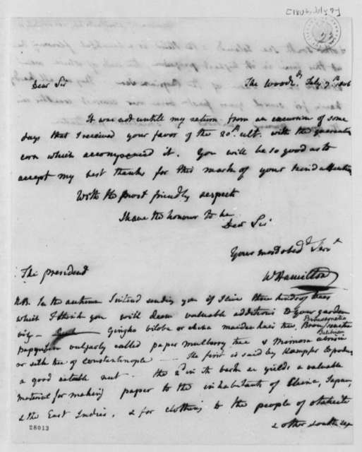 William Hamilton to Thomas Jefferson, July 7, 1806