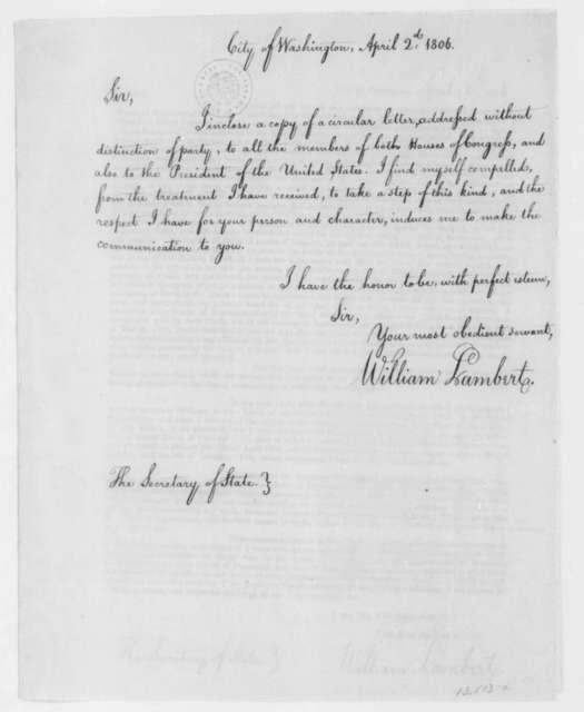 William Lambert to James Madison, April 2, 1806.
