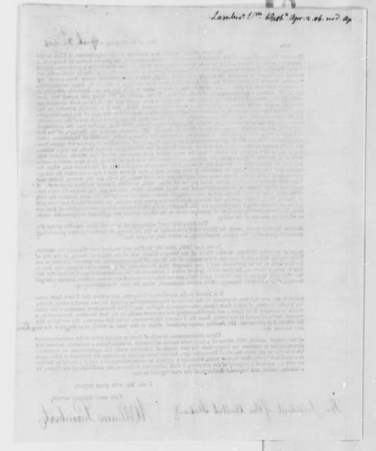 William Lambert to Thomas Jefferson, April 2, 1806, Printed Circular