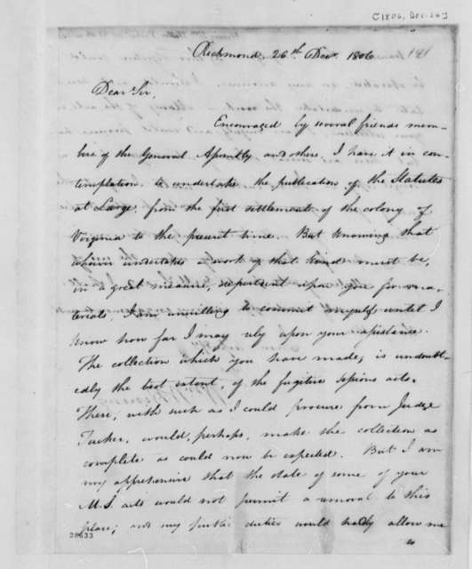 William Waller Hening to Thomas Jefferson, December 26, 1806, Saratoga Rangers