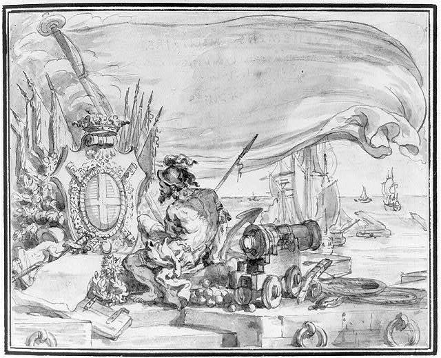 [Allegory showing America as ragged warrior beside naval cannon and shot]