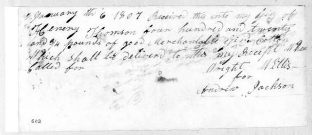 Andrew Jackson to Henry Thompson, January 6, 1807