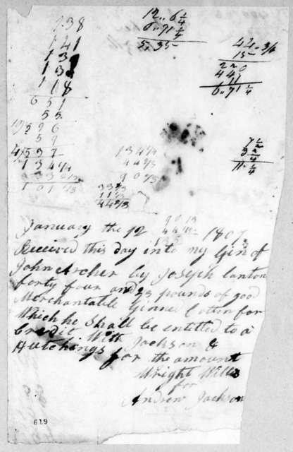 Andrew Jackson to John Archer, January 12, 1807