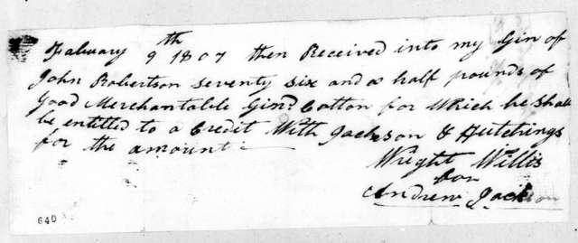 Andrew Jackson to John Robertson, February 9, 1807