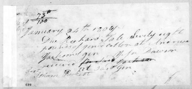 Andrew Jackson to Richard Tate, January 24, 1807
