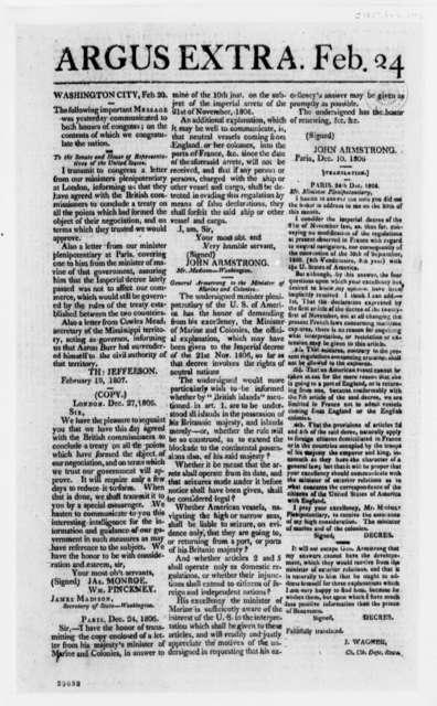 Argus Extra Newspaper, February 24, 1807